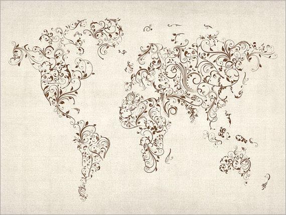 World map tattoo etsy gumiabroncs Images